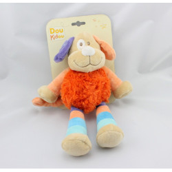 Doudou chien orange beige bleu DOUKIDOU