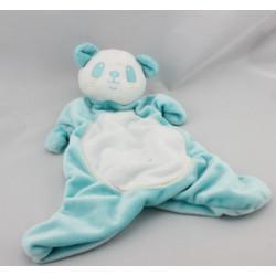 Doudou plat panda bleu blanc BRIOCHE LA HALLE
