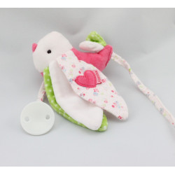 Doudou attache tétine oiseau rose blanc vert ABSORBA