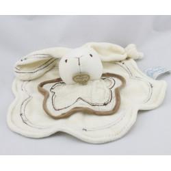 Doudou et compagnie platf fleur lapin blanc beige