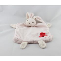 Doudou plat lapin Liliblue rose carré bleu fleur KALOO