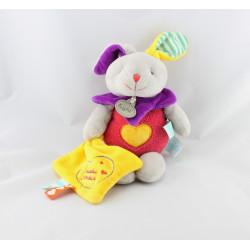 Doudou lapin rose mouchoir jaune étiquettes Les ZétiK'T BABY NAT