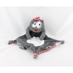 Doudou plat chat gris noir rayé rouge TAPE A L'OEIL