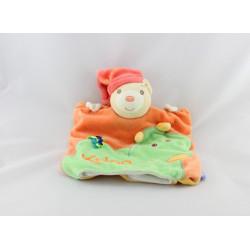 Doudou plat marionnette ours orange rouge dragon vert pop  KALOO