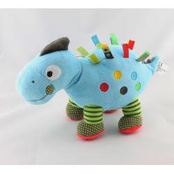 Doudou dinosaure bleu vert étiquettes NICOTOY