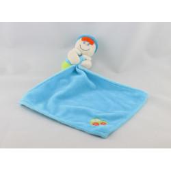 Doudou poupée garçon bleu vert voiture mouchoir BABY LUNA