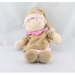 Doudou poupée lutin fille rose beige NICOTOY