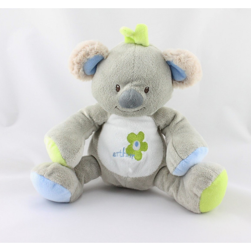 Doudou koala gris bleu vert Arthur et Lola BEBISOL
