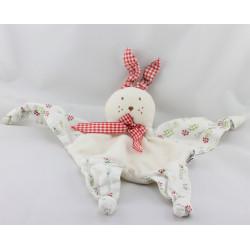Doudou plat lapin blanc vichy rouge fleurs AJENA