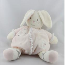 Doudou lapin blanc rose coeurs NOUNOURS