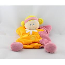 Doudou plat poupée lutin orange jaune rose BABY LUNA
