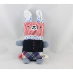 Doudou lapin bleu noir vichy rouge fleurs BOUT'CHOU BOUTCHOU