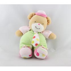 Doudou ours vert rose pois  cravate TAKINOU
