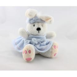 Doudou lapin blanc robe bleu MAXITA