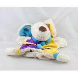 Doudou plat marionnette chien blanc jaune violet bleu MONDO