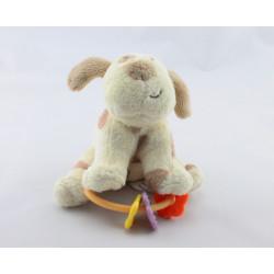 Petit doudou chien écru marron hochet PETIPOUCE