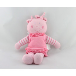 Doudou poupée chiffon rayé rose COROLLE