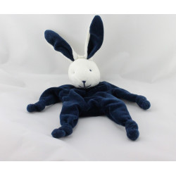 Doudou plat lapin blanc bleu marine