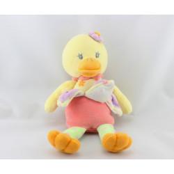 Doudou canard jaune rose mauve vert fleurs Duck