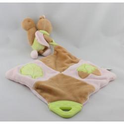 Doudou plat écureuil beige rose vert AUGUSTA DU BAY