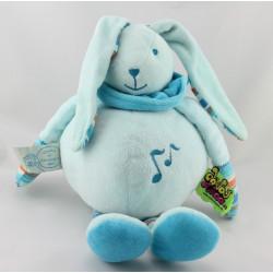 Doudou et compagnie musical lapin bleu rayé Nomade Tatoo