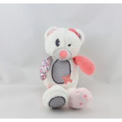 Doudou ours blanc rose gris pois étoiles TAPE A L'OEIL
