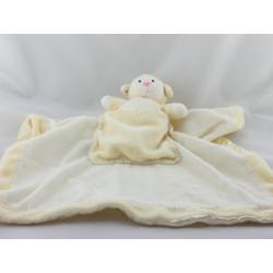 Doudou plat couverture satin jaune poche avec mouton agneau