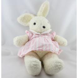 Doudou lapin blanc robe rayé rose TARTINE ET CHOCOLAT