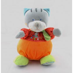 Doudou musical chat gris rouge orange pois chat brodé MOTS D'ENFANTS