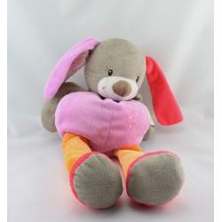 Doudou lapin beige rose orange pois DOUKIDOU