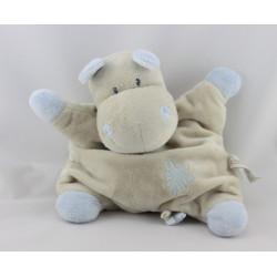 Doudou semi plat hippopotame beige bleu PREMAMAN