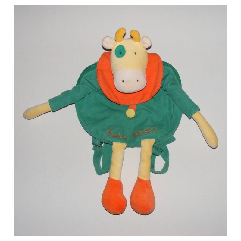 Doudou sac vache Madame Marguerite robe verte MOULIN ROTY