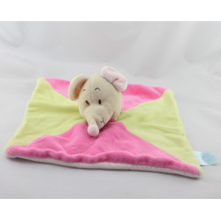Doudou plat souris rose verte KING BEAR