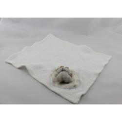 Doudou plat carré blanc mouchoir ours BERLINGOT