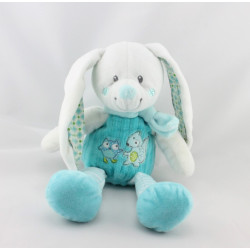 Doudou lapin blanc bleu hibou renard MOTS D'ENFANTS