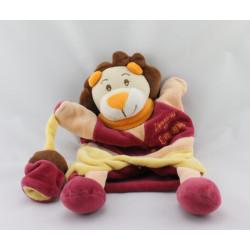 Doudou et Compagnie plat marionnette lion rouge jaune avec bébé singe