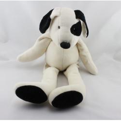 Doudou chien blanc cocard noir La grande famille MOULIN ROTY