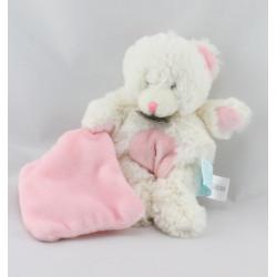 Doudou plat ours blanc mouchoir rose Baby nat