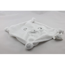 Doudou plat carré blanc ours AUCHAN