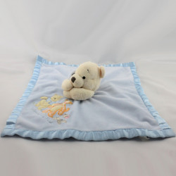 Doudou plat couverture bleu satin Winnie The Pooh Disney