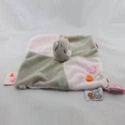Doudou plat chat gris rose coeurs NOUKIE'S