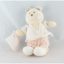 Doudou ours blanc rose mouchoir B coeur Bébé NOUNOURS