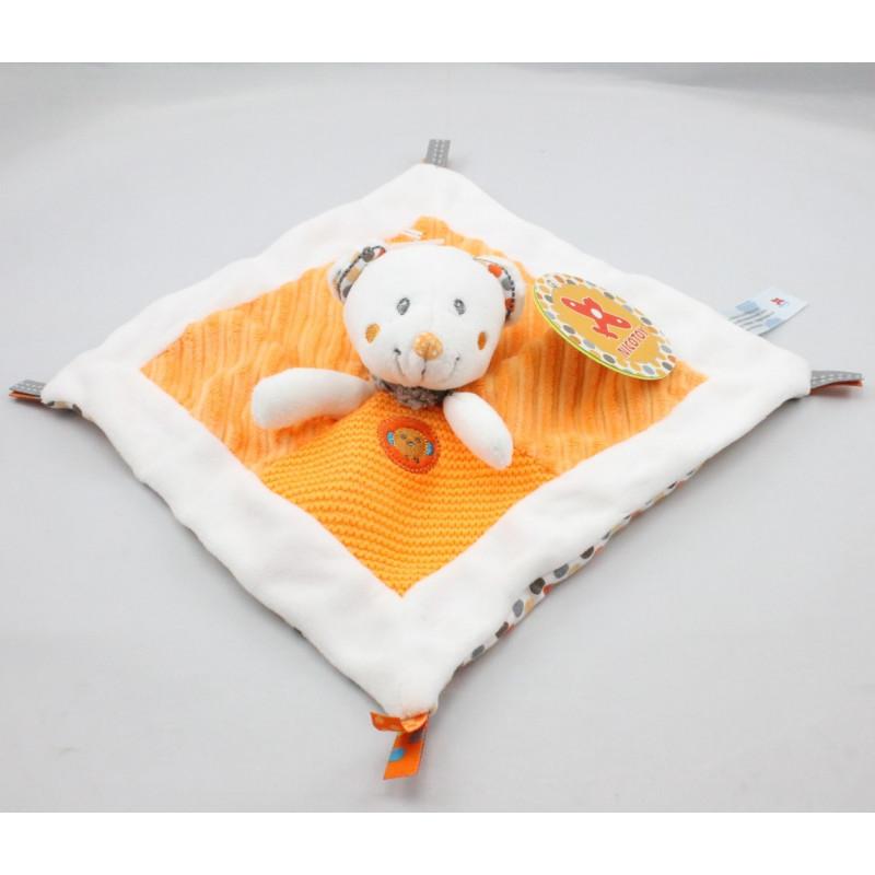 Doudou plat ours blanc orange pois oiseau NICOTOY