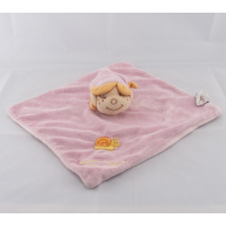 Doudou Plat carré rose escargot brodé Fillette Lutin Bengy