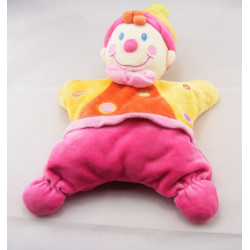 Doudou semi plat rose clown NICOTOY