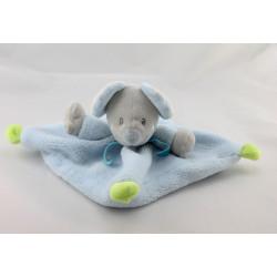 Doudou plat souris grise bleu vert NICOTOY