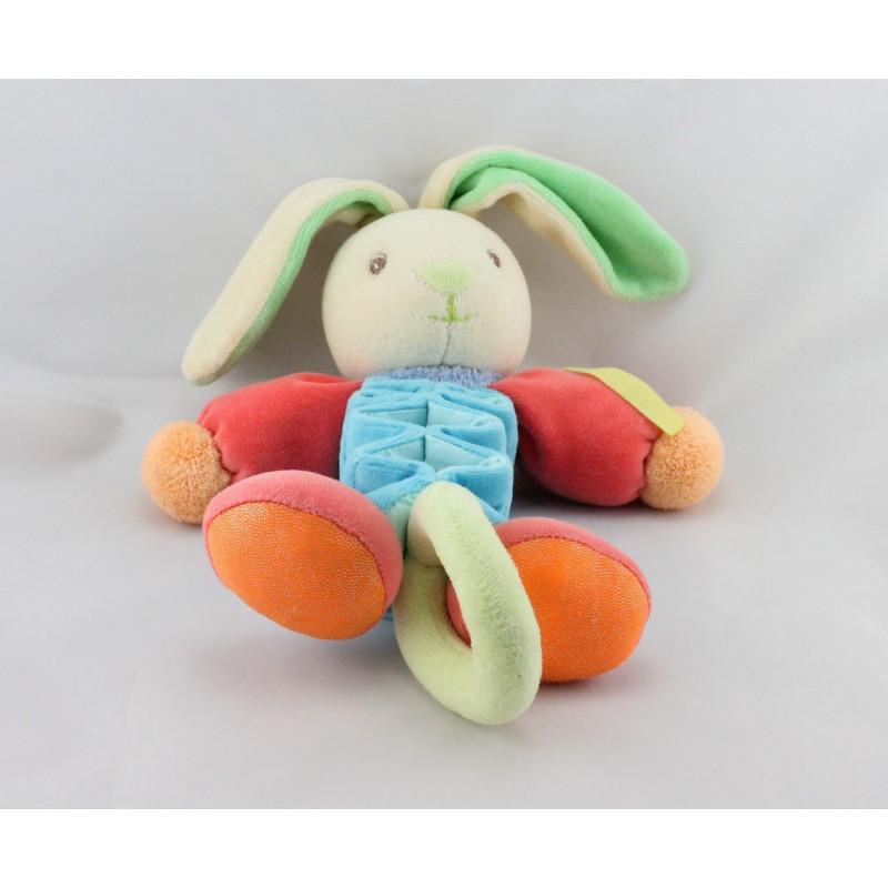 Doudou musical lapin accordéon bleu rouge vert orange KALOO
