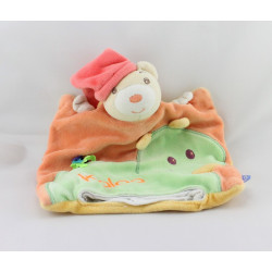 Doudou plat marionnette ours orange rouge dragon vert pop KALOO