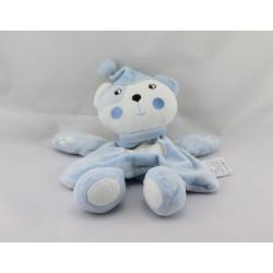 Doudou plat ours blanc bleu rayé étoile