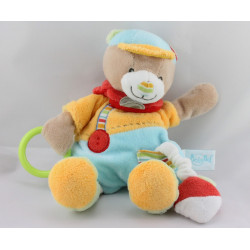 Doudou ours Simon jaune bleu rouge vert hochet radis BABY NAT